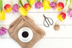Configuração lisa das tulipas na madeira branca Imagem de Stock Royalty Free