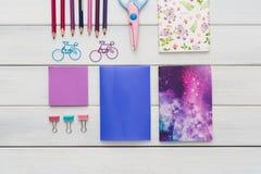 Configuração lisa de artigos de papelaria coloridos do escritório e da escola Fotografia de Stock
