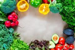 Configuração lisa de legumes frescos com espaço da cópia Fotos de Stock