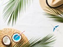Configuração lisa tropical com o cocktail azul no coco foto de stock