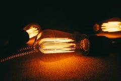 Configurações dos bulbos de Edison Equipamento da eletricidade imagens de stock royalty free