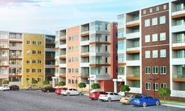Configuración Área residencial de las casas con el aparcamiento imagen de archivo libre de regalías
