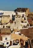 Configuración de la aldea de Oia Fotos de archivo
