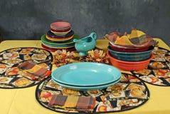 Configuración de la cena de Colorfull Imagen de archivo libre de regalías