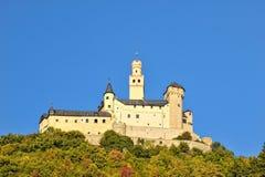 Configuración de la fachada del castillo de Marksburg Imagen de archivo libre de regalías