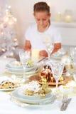 Configuración de lugar de la Navidad Fotos de archivo libres de regalías