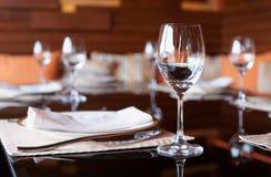 Configuración de lugar en un restaurante Imagen de archivo
