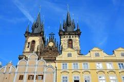 Configuración de Praga, catedral de Tyn foto de archivo libre de regalías