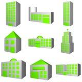 Configuración del edificio fijada en 3 Fotos de archivo libres de regalías