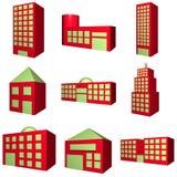 Configuración del edificio fijada en el rojo 3d Imágenes de archivo libres de regalías