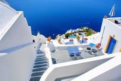 Configuración en la isla de Santorini Imagenes de archivo