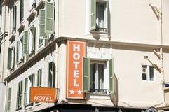 Configuración francesa Niza Francia del hotel Fotografía de archivo