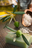 Configuración natural del balneario con los productos verdes olivas Fotos de archivo