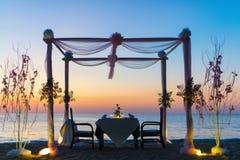Configuración romántica de la cena Foto de archivo libre de regalías