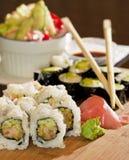 Configuración tradicional de la cena del sushi Imágenes de archivo libres de regalías
