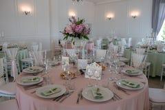 Configuración y flores del vector de la decoración de la boda Fotografía de archivo libre de regalías