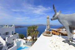Configuración blanca clásica de Santorini, Grecia Imágenes de archivo libres de regalías