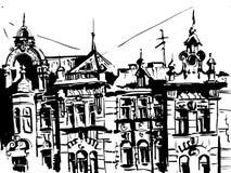 Configuración Casa vieja, dibujada en tinta Vector Fotos de archivo libres de regalías