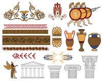 Configuración de Grecia y conjunto de color de los ornamentos Imágenes de archivo libres de regalías