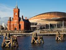 Configuración de la línea de costa de la bahía de Cardiff Fotos de archivo libres de regalías