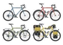 Configuraciones de las bicicletas del senderismo Vector ilustración del vector