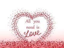 """Configuration avec des coeurs Fond de jour du ` s de Valentine L'inscription """"toute que vous avez besoin est amour Illustration d illustration stock"""