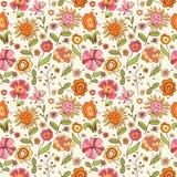 Configuration avec des fleurs de dessin animé Photo libre de droits
