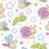 Configuration avec des insectes et des escargots Photo stock