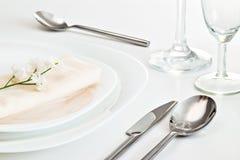Configuration blanche de table Photo stock