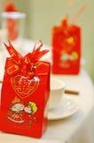 Configuration chinoise de table de banquet de mariage Images stock