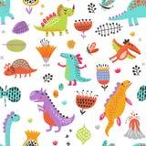 Configuration décorative de vecteur Dinosaures drôles illustration stock
