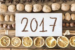 Configuration d'appartement de nourriture de Noël, texte 2017 Images libres de droits