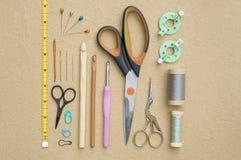 Configuration de couture et faisante du crochet d'appartement d'outils Photographie stock libre de droits