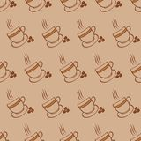 Configuration de cuvettes et d'haricots de café Images stock
