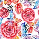 Configuration de fleur abstraite sans joint Fleurs, feuilles sur le fond blanc Images stock