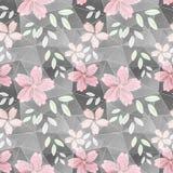 Configuration de fleur sans joint Fleurs roses sur Grey Background Photos stock