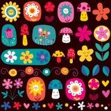 Configuration de fleurs mignonne illustration de vecteur