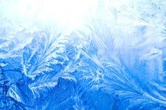 Configuration de glace sur un hublot en hiver Image libre de droits
