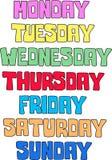 configuration de jour de la semaine Images libres de droits