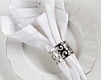 Configuration de place de toile blanche de table Image stock