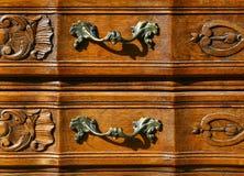 Configuration des meubles floraux de woodcarving Photographie stock