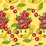 Configuration douce dessert avec des fraises, des cerises et la crème dans une tasse illustration de vecteur