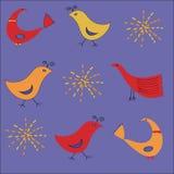 Configuration ethnique avec des oiseaux dans des couleurs chaudes Photo libre de droits