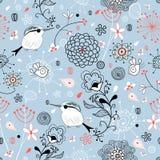 Configuration florale avec des oiseaux Photo stock