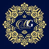 Configuration florale décorative Cadre gracieux d'or Symboles héraldiques illustration libre de droits