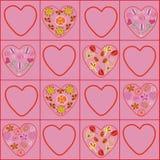 Configuration florale de coeurs Photos libres de droits