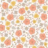 Configuration florale de cru sans joint avec des roses Images libres de droits