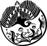 Configuration florale ronde avec l'oiseau Images libres de droits