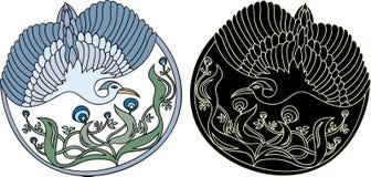 Configuration florale ronde avec l'oiseau Photographie stock libre de droits