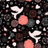 Configuration florale sans joint avec des oiseaux dans l'amour Image stock